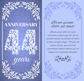 Luxury template with floral frame and a decorative pattern for the 44 years anniversary There is a place for text