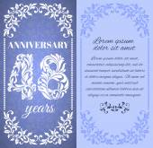 Luxury template with floral frame and a decorative pattern for the 48 years anniversary