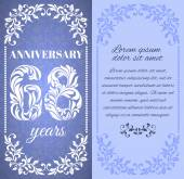 Luxury template with floral frame and a decorative pattern for the 68 years anniversary There is a place for text