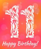 Bright Greeting card Invitation Template Celebrating 11 years birthday Decorative Font with swirls and floral elements