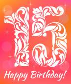 Bright Greeting card Invitation Template Celebrating 15 years birthday Decorative Font with swirls and floral elements