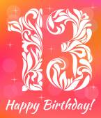 Bright Greeting card Invitation Template Celebrating 13 years birthday Decorative Font with swirls and floral elements