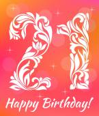 Bright Greeting card Invitation Template Celebrating 21 years birthday Decorative Font with swirls and floral elements