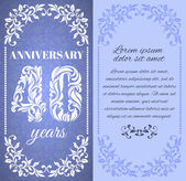 Luxury template with floral frame and a decorative pattern for the 40 years anniversary There is a place for text