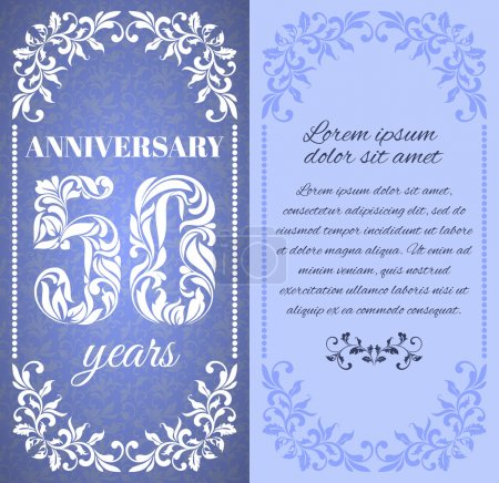 Luxury template with floral frame and a decorative pattern for the 50 years anniversary. There is a place for text