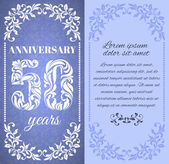 Luxury template with floral frame and a decorative pattern for the 50 years anniversary There is a place for text