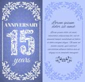 Luxury template with floral frame and a decorative pattern for the 15 years anniversary There is a place for text