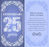 Luxury template with floral frame and a decorative pattern for the 25 years anniversary There is a place for text