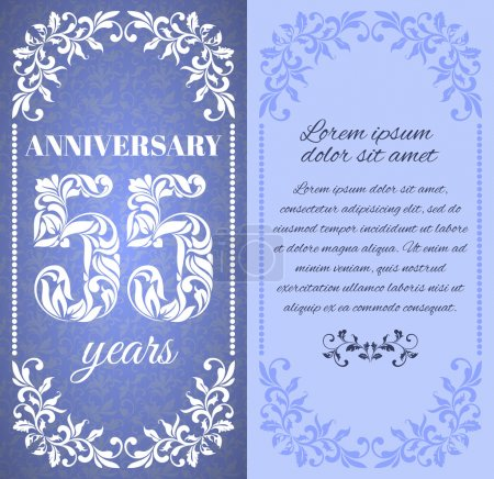 Luxury template with floral frame and a decorative pattern for the 55 years anniversary. There is a place for text