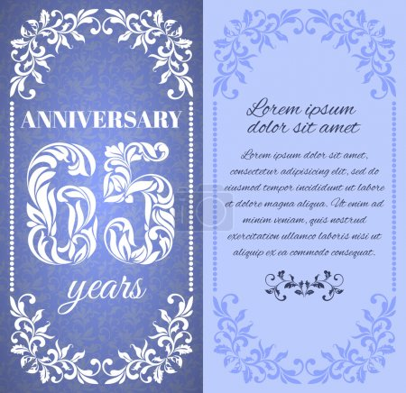 Luxury template with floral frame and a decorative pattern for the 65 years anniversary. There is a place for text