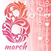 Grußkarte mit 8 March. Dekorative Schriften mit floralen Elementen und wirbelt