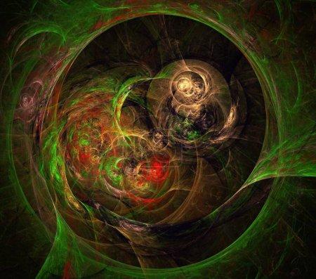 Photo pour Illustrations psychédélique fractale futuriste géométrique coloré ornement 3D Render - image libre de droit