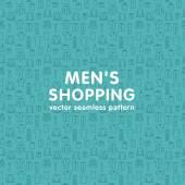 Vector seamless pattern on men's shopping theme