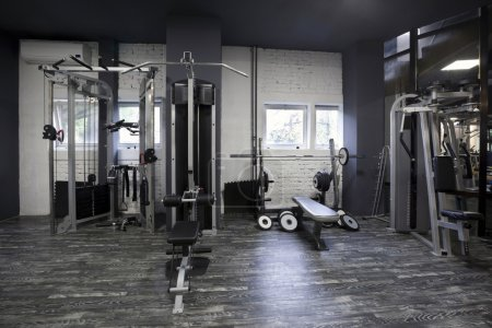 Weight machines in a gym