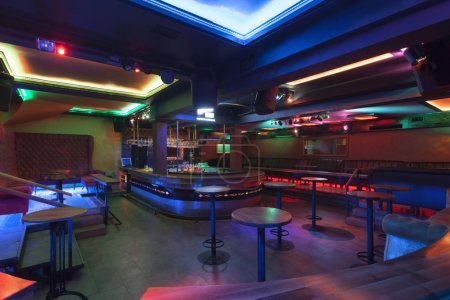 Photo for Nightclub interior with colorful lights - Royalty Free Image