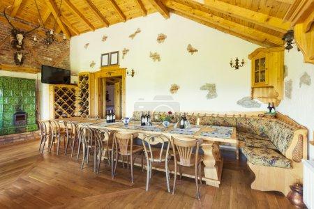 Rustic winery interior