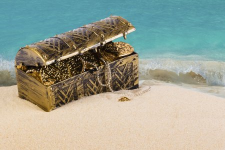 Treasure chest on the sand