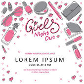Girls Night Out Party Invitation Card Design in Vector