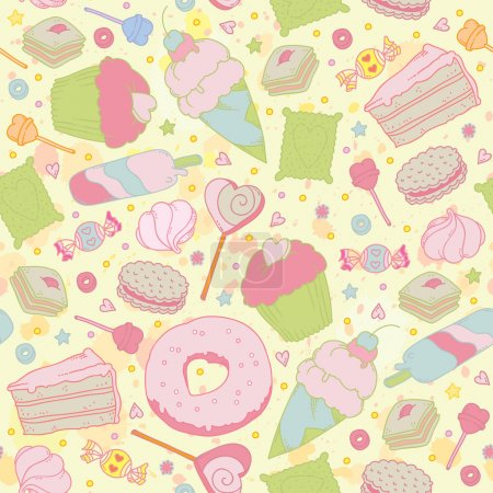 Sweet heart seamless pattern - sweets, cupcakes, candy and cake