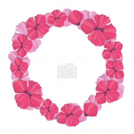 Round frame of delicate poppy flowers vector