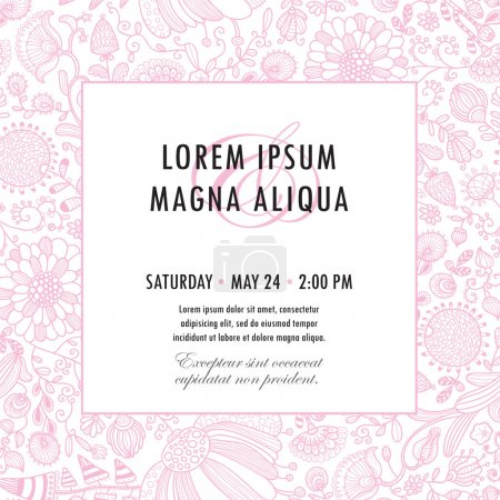 Invitation template with floral ornament vector