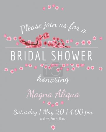 Invitation bridal shower card with sakura vector template