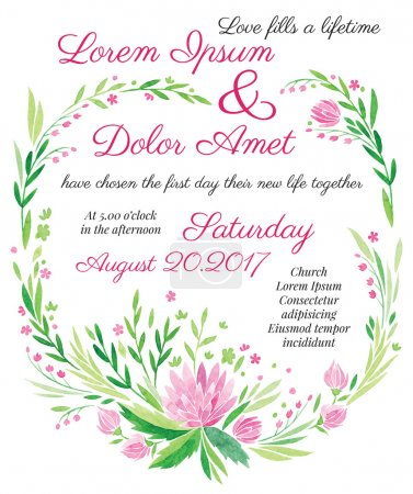 watercolor vector wedding invitation big pink flower with leaves