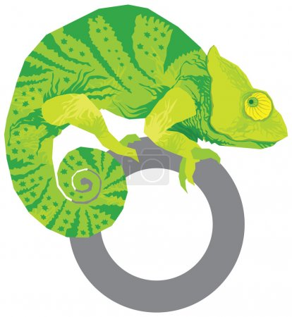Illustration for Colorful green yellow chameleon vector - Royalty Free Image