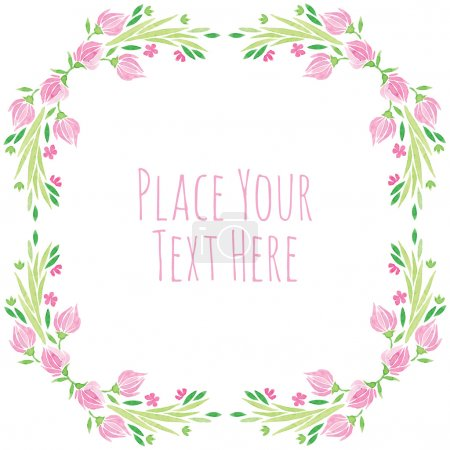 watercolor vector round frame - pink flower with leaves