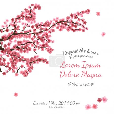 Illustration for Invitation bridal shower card with sakura vector template - for invitations, flyers, postcards, cards and so on - Royalty Free Image