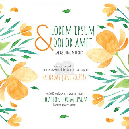 Invitation bridal shower card with orange flower vector template