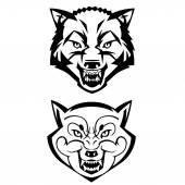 wolfs heads showing teeth