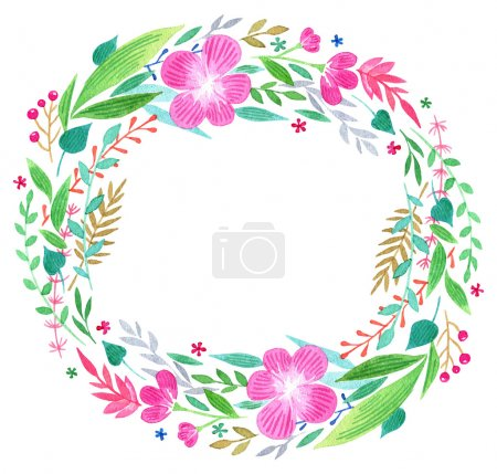 Watercolor frame of colorful twigs leaves and flowers vector