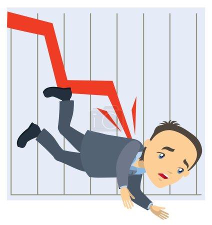 Crisis concept - graph falls down and businessman ...