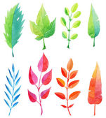multicolored watercolor leaves