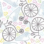 Winged bicycles with hearts