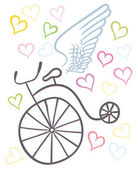 Winged bicycle with hearts
