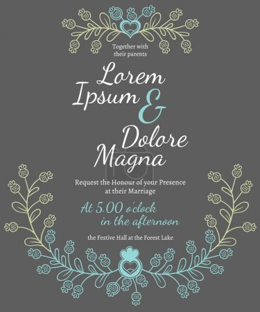 Illustration for Invitation wedding card vector template - for invitations, flyers, postcards, cards and so on - Royalty Free Image
