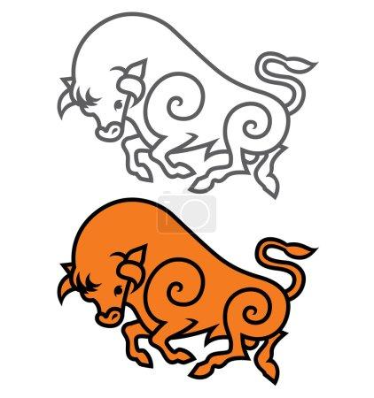 energetic galloping bulls