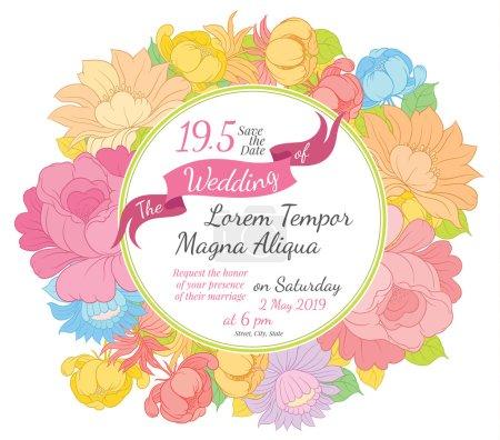 Invitation wedding floral card