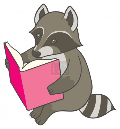 Cartoon raccoon reading a big book