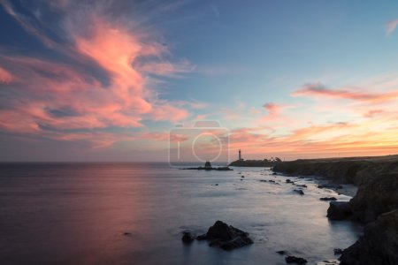 Lighthouse on the Beach, sunset,  Pigeon point lighthouse, California, USA
