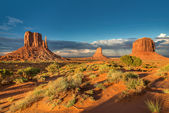Monuments in the desert of Monument Valley.