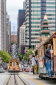 SAN FRANCISCO, CA,  CIRCA  JULY 2014, Cable cars traffic in California St., San Francisco, circa July 2014.