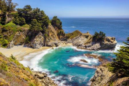 Fine beach and falls, Pacific coast, Julia Pfeiffer beach