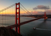 Famous Golden Gate Bridge in San Francisco at sunrise, California