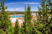 Beautiful view of Grand Prismatic Spring in Yellowstone National Park