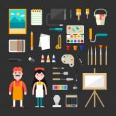 Set of Vector Icons and Illustrations in Flat Design Style Male and Female Cartoon Characters Painter Surrounded by Painting Tools and Appliances Painter Concept