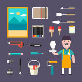 Painting Tools and Appliances Male Cartoon Character Painter People Profession and Hobbie Set of Vector Illustrations in Flat Style
