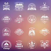 Set of Summer Holidays Design Elements. Hipster Vintage Logotypes and Badges on Blurred Background. Beach Vacation, Party, Journey